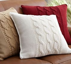 Solid All Pillows Throws Slipcovers Three Cable-Knit Pillow Covers - - these are so incredibly soft! Sweater Pillow, Crochet Pillow, Knit Crochet, Custom Pillows, Decorative Pillows, Knitting Projects, Knitting Patterns, Knitted Cushions, Knitted Cushion Covers