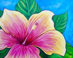 Wine and Canvas Small Canvas Art, Diy Canvas Art, Canvas Canvas, Tropical Art, Tropical Flowers, Inspiration Artistique, Wine And Canvas, Caribbean Art, Spring Art