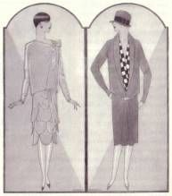 The boyish, or garçonne look, was quite popular from 1925-1926 and again from 1928-1929. Straight, curveless dresses were worn with bust flattening brassieres. The waist completely disappeared, and belts were worn around the hips. The chemise type dress was popular from 1925 to 1928 or 1929. The chemise (French for shirt) hung straight down to the knees.