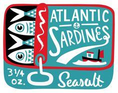 Atlantic Sardines - vintage sardine tin illustration by Matt Johnson for Seasalt Cornwall