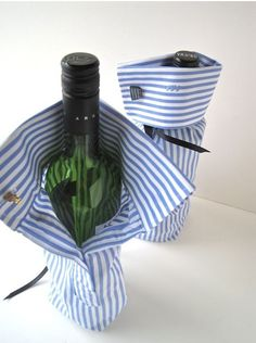 Nothing screams preppy more than a bottle of wine wrapped in an oxford with cuff links