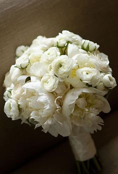White peony and ranunculus wedding flower bouquet
