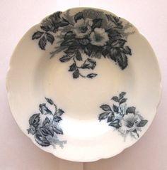 Vintage Flow Blue Soup Bowl Khyber Pattern Johnson by CinfulOldies, $32.00