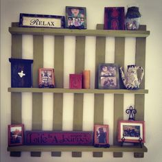 Paint a pallet and use it as a shelf.