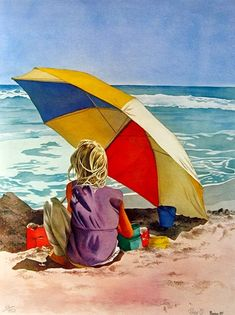 Pomm Olsen summer at the beach. ❣Julianne McPeters❣ no pin limits Pomm Olsen Sommer am Strand. Figure Painting, Painting & Drawing, Umbrella Art, Beach Umbrella, Am Meer, Beach Scenes, Beach Art, Olsen, Beautiful Paintings