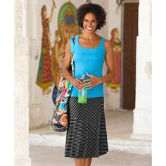 Skinny Shadow Skirt with organic cotton carmela tank. outfit looks very comfy for summer | Athleta