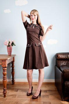 Braunes 60er Jahre Jerseykleid