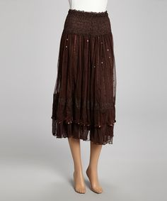 Coffee Sequin Lace Silk-Blend Midi Skirt #zulily #zulilyfinds