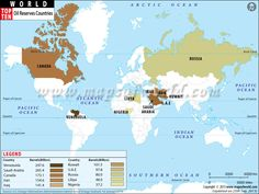 Top Ten Oil Reserves Countries Map