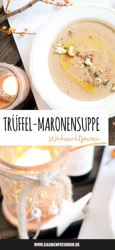 Chestnut soup with truffle oil - a fine starter for the Christmas menu - Advertising. Fine chestnut soup with creme fraiche, truffle oil and thyme – a sensationally delic - Fresco, Soup Starter, A Food, Food And Drink, Truffle Oil, Winter Food, Creme Fraiche, Fall Recipes, Appetizer Recipes