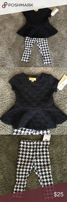 New with tags Nicole Miller toddler outfit 2t Brand new black and white Nicole Miller 2t. Pelpum top with patterned leggings. Nicole Miller Matching Sets