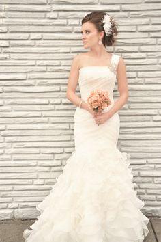 one shoulder style wedding dress via lover.ly. photo: still55 wedding photography