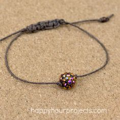 Macrame Slider Beaded Bracelet DIY -  at www.happyhourprojects.com - Quick & easy bracelet - good way to use leftover one-of beads!