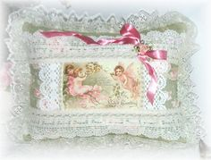 Decorative Valentine Pillow Victorian with Lace by Kittyandme, $40.00