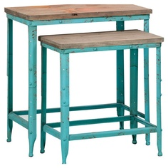 Set of 2 nesting tables with wood tops and distressed turquoise metal bases. Product: Small and large nesting tableConstruction Material: Metal and woodColor: Distressed turquoise and naturalDimensions: Small: WLarge: W Metal Nesting Tables, Display Family Photos, Palette, My Living Room, Decoration, My Dream Home, End Tables, Home Furniture, Furniture Ideas