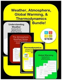 Weather Bundle:These activities are designed to explain and review Weather, Thermodynamics, and Global warming. The reviews (weather, thermodynamics, and global warming) include deforestation, fossil fuels, glacial melt, and ocean salinity and much more.