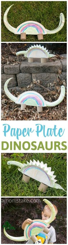 Learn about Dinosaurs with this fun, and easy, Paper Plate Dinosaur craft idea! You'll just need everyday supplies you likely already have on hand to make this art with paper plates that doubles as a fun toy! via @amomstake