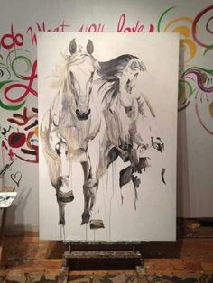 Horse art. Lovely as is. Wouldn't this look great on a dark wall?