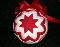 Items similar to Golden Christmas - Handmade Quilted Ornament on Etsy