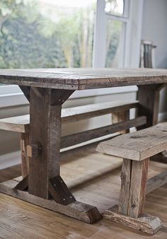 reclaimed trestle leg dining table with benches. great way to increase seating without taking much space Wood Table Legs, Plank Table, Timber Table, Wood Tables, Corner Bench Dining Table, House Furniture Design, Farmhouse Table, Farmhouse Furniture, Barn Wood