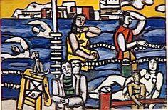Swimming - Fernand Léger. Titulo original: La baignade étude. Arte Naíf