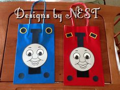 I made these for my sons Party. Thomas the Train Party favor bags. I printed the face only and cut it and I used my Cricut machine to cut all the circles and rectangles and pasted them on the bag. Thomas has circles on top and James the train has rectangles. Super easy to make
