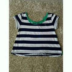 Abercrombie&Fitch Top Blue/White striped with Green outlining. Only worn twice. Its comfortable and lightweight. You'll enjoy it! Hollister Tops