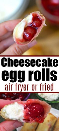 Cherry cheesecake egg rolls are amazing! Just 3 ingredients in this warm desser… Cherry cheesecake egg rolls are amazing! Just 3 ingredients in this warm dessert egg roll recipe. SO easy and the easiest cheesecake recipe ever. Dessert Egg Rolls Recipe, Air Fryer Recipes Dessert, No Egg Desserts, Egg Roll Recipes, Easy Egg Roll Recipe, Snacks Sains, Easy Cheesecake Recipes, 3 Ingredient Cheesecake, Sweets