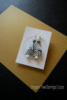 Origami Tree Earrings/ Polka Dot/ Modern Christmas by Licca Modern Christmas, Christmas Gifts, Origami Tree, Black And White Tree, Earring Tree, Paper Folding, Black Dots, Polka Dots, Drop Earrings