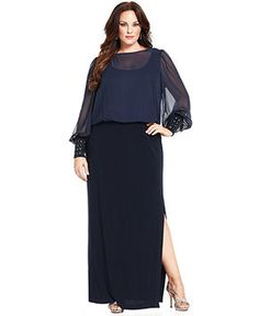 Xscape Plus Size Dress, Long-Sleeve Blouson Gown Low Back Dresses, Mob Dresses, Review Dresses, Plus Size Dresses, Dresses For Work, Formal Dresses, Backless Bridesmaid Dress, Dresser, Gowns Of Elegance