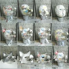 Faschingsmasken aus Pappmache basteln – Wolf Maske Make carnival masks from paper mache – wolf mask Paper Mache Mask, Making Paper Mache, Cosplay Tutorial, Cosplay Diy, Halloween Cosplay, Wolf Maske, Mascara Papel Mache, Halloween Crafts, Halloween Decorations