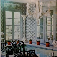 Trellis and chairs
