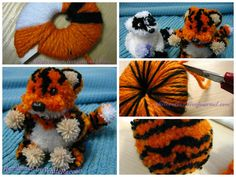 Tiger of pompoms I propose to look at the photo class on creating pompoms for a very cute baby tiger.
