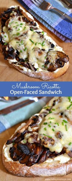 This Mushroom Ricotta Open-Faced Sandwich is a delicious vegetarian sandwich recipe that mushroom lovers will go nuts for!   Hello Little Home