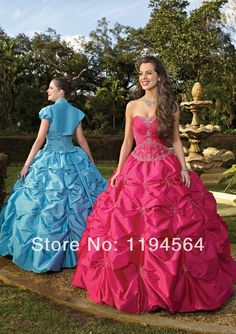 >> Click to Buy << Floor Length Fashion 2014 Ball Gown Taffeta Appliques and Beaded Scoop Quinceanera Dress with Jacket  Free Shipping GR124 #Affiliate