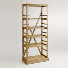 """We've taken traditional style and created a modern-day classic with our Campaign Bookshelf. Inspired by the strength, elegance and portability of British campaign-style furniture, this architecturally stunning bookshelf features an open construction with five shelves and two back beams that form an """"X."""""""