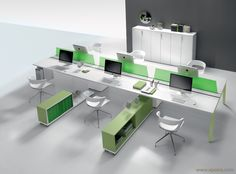 Fashion Office Workstation with Glass Screen picture from Guangzhou Owin Furniture Co. view photo of Office Furniture, Office Table, Wooden Table. Bureau Open Space, Open Space Office, Creative Office Space, Office Furniture Design, Office Interior Design, Office Interiors, Arch Interior, Mobiles, Office Screens