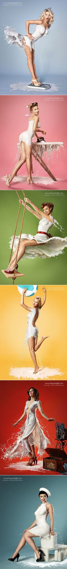 Sexy Pinup Inspired Photos Of Girls Wearing Clothes Made Of Milk Splashes