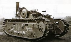 Steam Powered tracked vehicle.Fowlers made steam powered farmers engines and ploughing sets before getting involved with first tanks- of which this is not one.