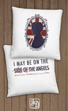 Sherlock cameo BBC SHERLOCK  pillow. $20.00, via Etsy.