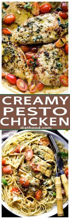 Creamy Pesto Chicken - Create a restaurant-style meal at home with this flavor-packed, creamless Creamy Pesto Chicken dinner that comes together in just 30 minutes!
