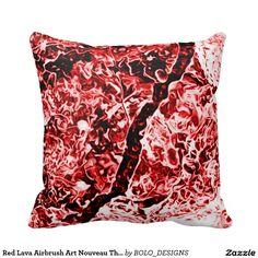 Red Lava Airbrush Art Nouveau Throw Pillow
