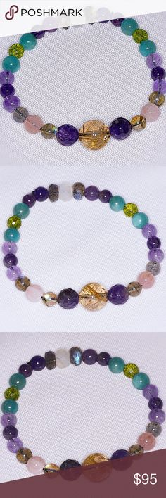 Genuine Multi-Gemstone Bracelet! Genuine Multi-Gemstone Bracelet! This Bracelet consists of Genuine Rainbow Moonstone, Golden Rutilated Quartz, Rose Quartz, Amethyst, Aventurine, Labradorite, and Peridot. Some say that Moonstone is foremost a talisman of the inward journey, taking one deep into the self to retrieve what is missing, the parts of the soul left behind or forgotten, then brought to light. (Bundle 3 Listings & Save with my Discount!) Jewelry Bracelets