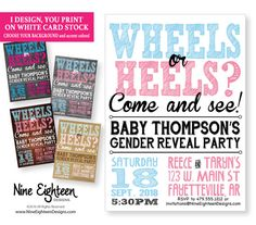 Hey, I found this really awesome Etsy listing at https://www.etsy.com/listing/384563108/gender-reveal-invitation-wheels-or-heels