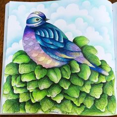 done... a bird by #MillieMarotta book but I did more leaves #adultcoloringbooks…