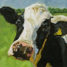 "Cow art, giclee on canvas print with gallery wrap, 12x12, from an original oil painting, ""The Moo End"". $90.00, via Etsy."