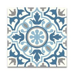 Pack of 12 Baha Blue and Grey Handmade Cement 8x8-inch Floor and Wall Tiles (Morocco)