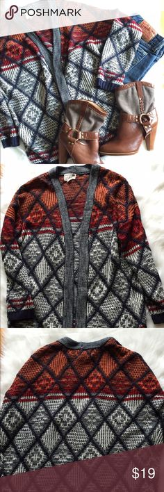 """LA Hearts Women's Juniors Open Cardigan XS EUC La Hearts Open Sweater . Sweater is Multi-Colored Navy Burnt Orange. Size XSMALL . EUC. Armpit To Armpit 25"""" Waist 42"""" Length 26"""" Sleeve Length 15"""" Shoulder to Shoulder 25"""" Please let me know if you have any additional questions and I will get back to you ASAP. LA Hearts Sweaters Cardigans"""
