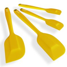 ChefStir Silicone Spatula Set of 4 - Heat Resistant Kitchen Spatulas - Best for Nonstick Cookware (Yellow)