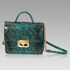 $666.65+-+Tina+Firenze+Designer+Emerald+Python+Leather+Messenger+Bag+w/Chain+[01TF0199PLGR]+:+Italian+Leather+Handbags,+Top+Rated+Designer+Hand+Bags,+Trendy+Designer+Handbags